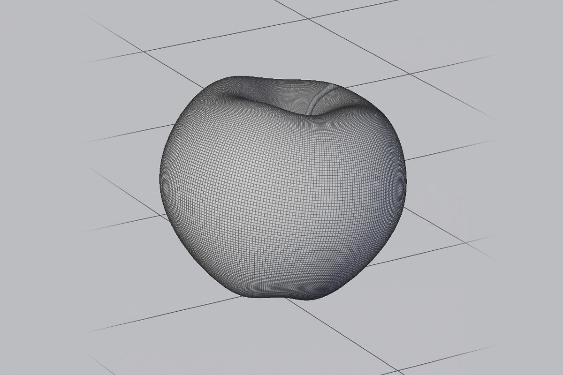 The apple in raw 3d wireframe
