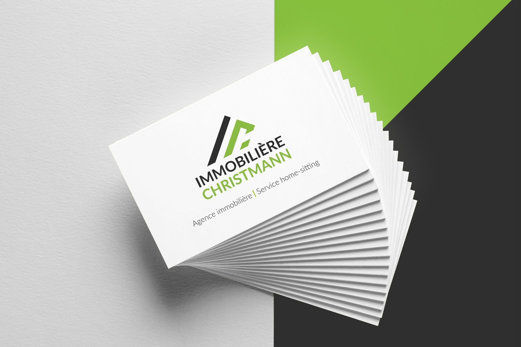 "Business Cards for ""Immobilière Christmann""."