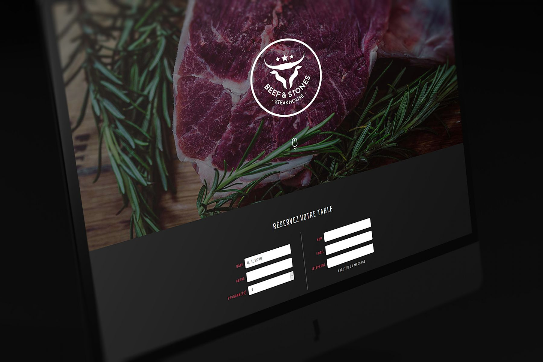 Landing page of the Beef & Stones Steakhouse in Esch-sur-Alzette.